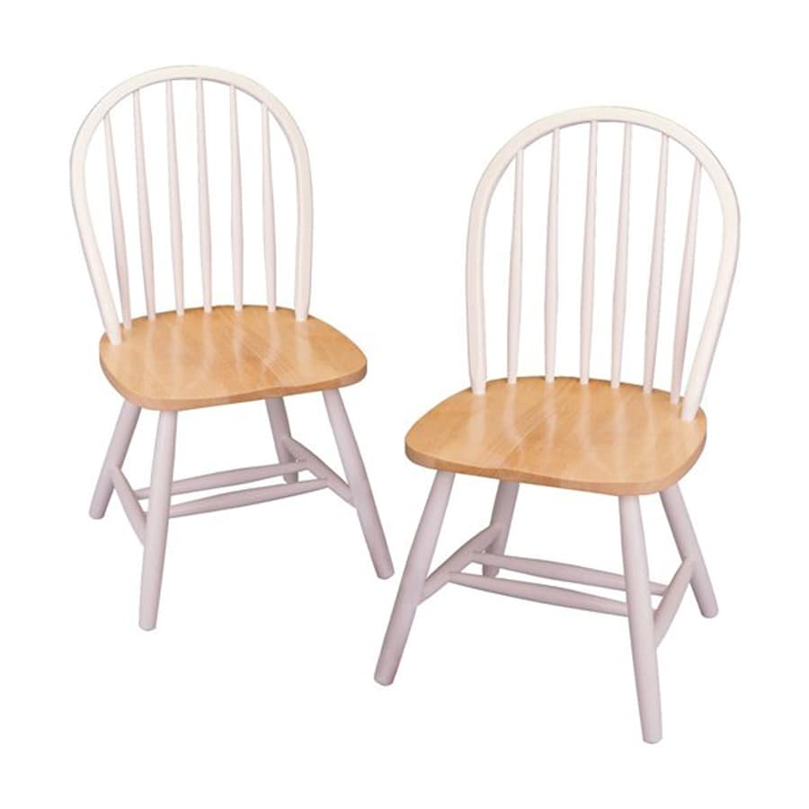 Winsome Wood Set of 2 Windsor White/Natural Side Chairs