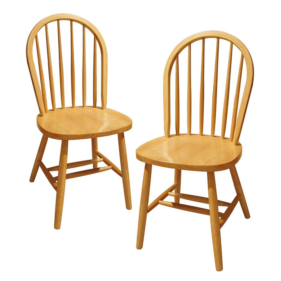 Winsome Wood Set of 2 Windsor Traditional Natural Side Chairs