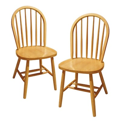 Set Of 2 Windsor Traditional Natural Side Chairs