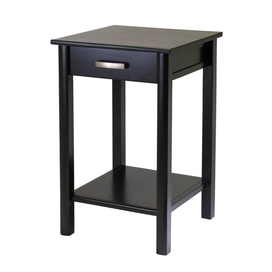 Shop winsome wood liso dark espresso square end table at for Black wood side table