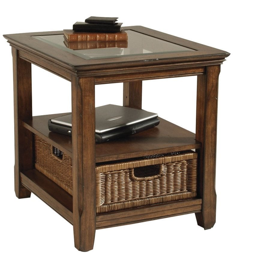 Shop magnussen home tanner tobacco walnut end table at for Home tanner