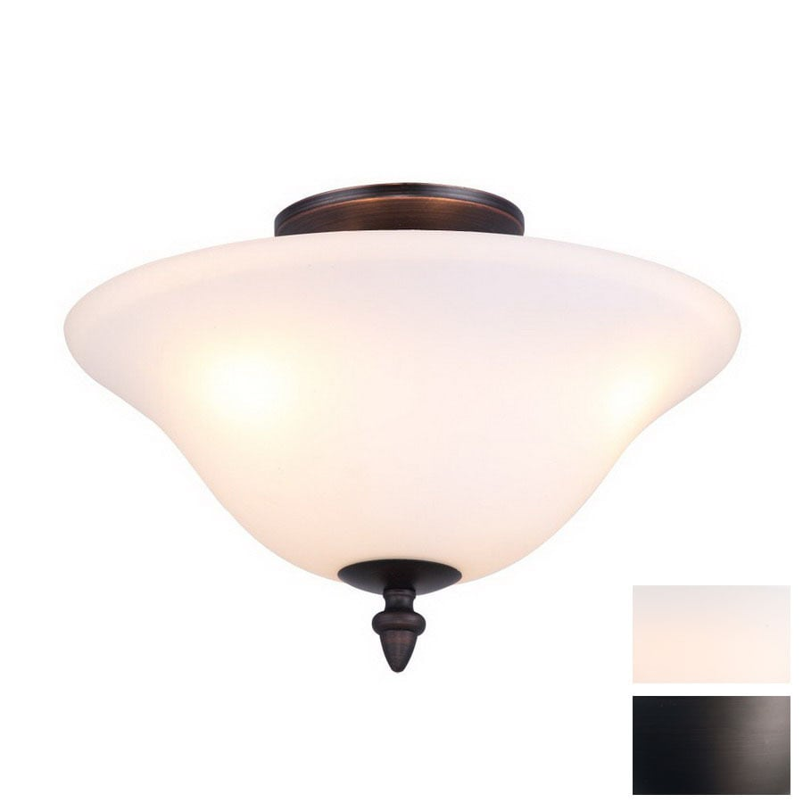 DVI 13.25-in W Oil-Rubbed Bronze Opalescent Glass Semi-Flush Mount Light