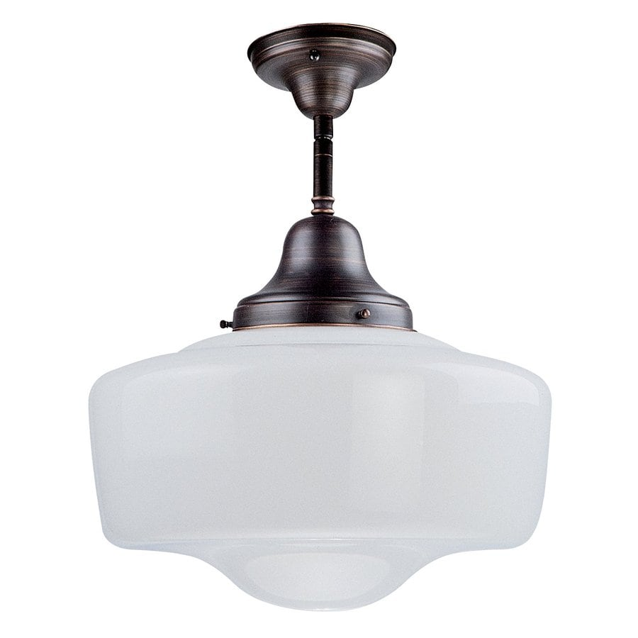 DVI School House 14-in W Oil-Rubbed Bronze Opalescent Glass Semi-Flush Mount Light