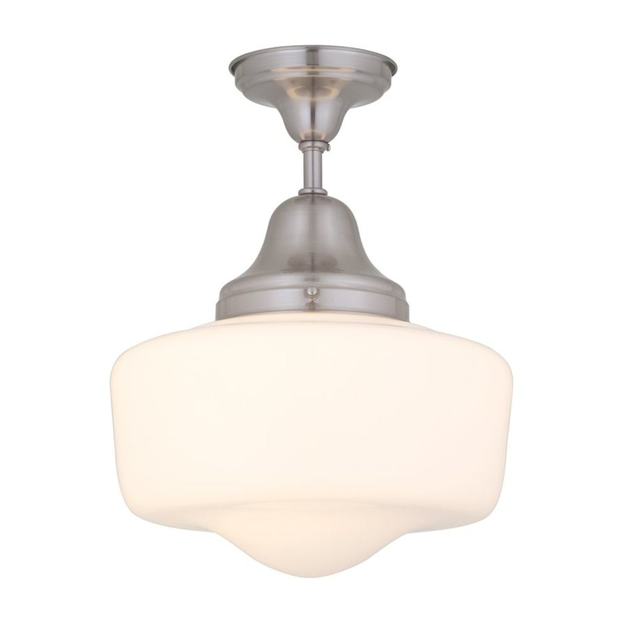 DVI School house 14-in W Satin nickel Opalescent Glass Semi-Flush Mount Light