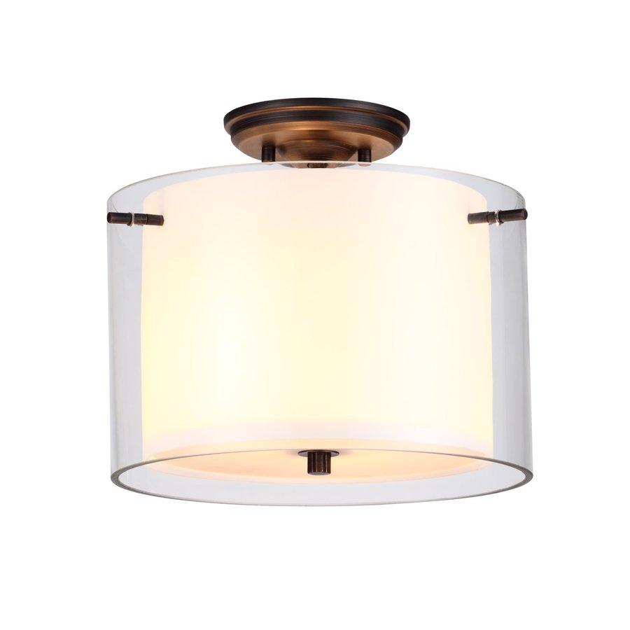 DVI Essex 12-in W Oil-Rubbed Bronze Opalescent Glass Semi-Flush Mount Light