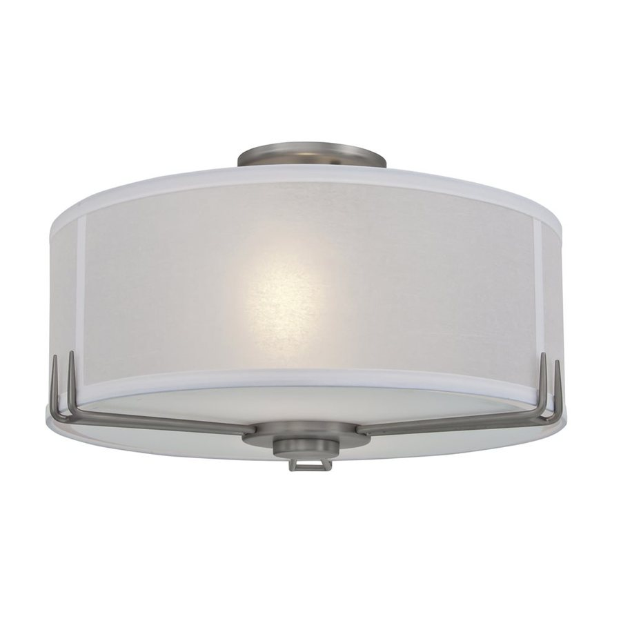 DVI Geometry 16-in W Buffed Nickel Fabric Semi-Flush Mount Light