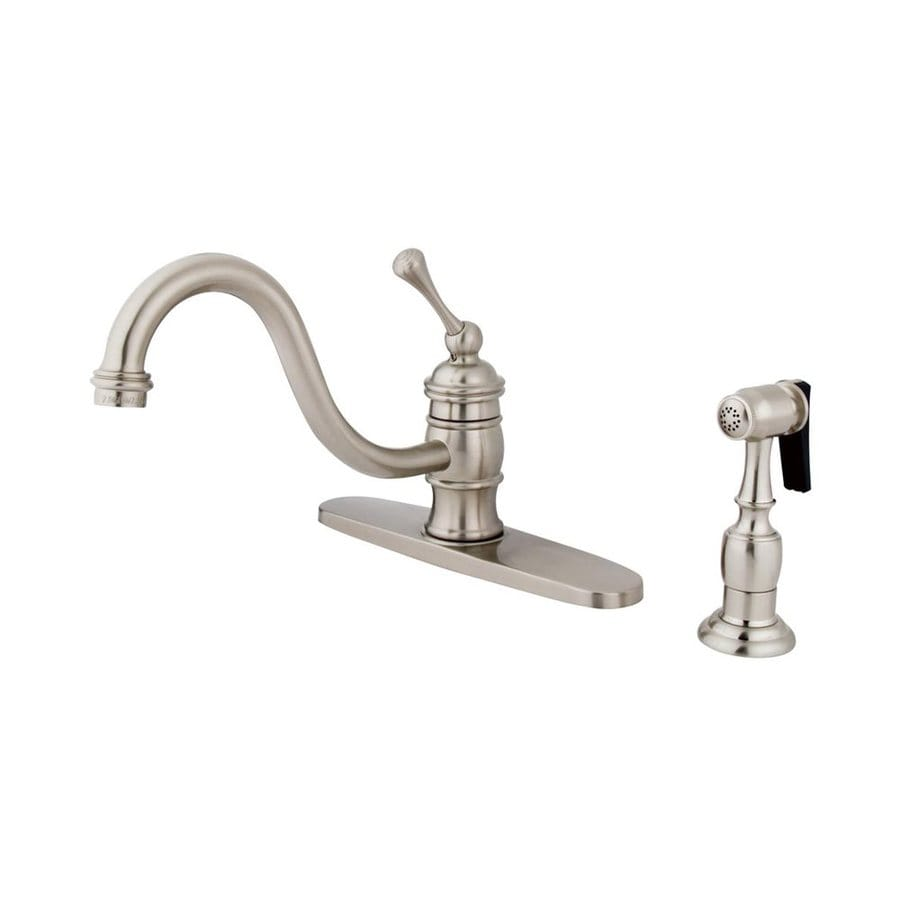Elements of Design Hot Springs Satin Nickel 1-Handle Deck Mount Low-Arc Kitchen Faucet