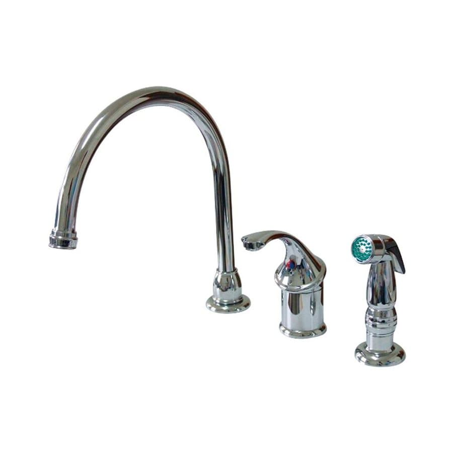Elements of Design Georgian Polished Chrome 1-Handle High-Arc Kitchen Faucet with Side Spray