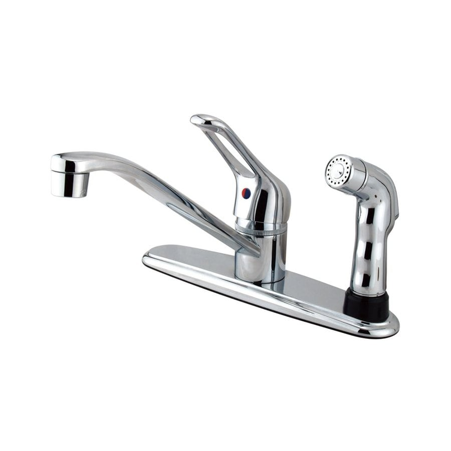 Elements of Design Wyndham Chrome 1-Handle Low-Arc Kitchen Faucet with Side Spray