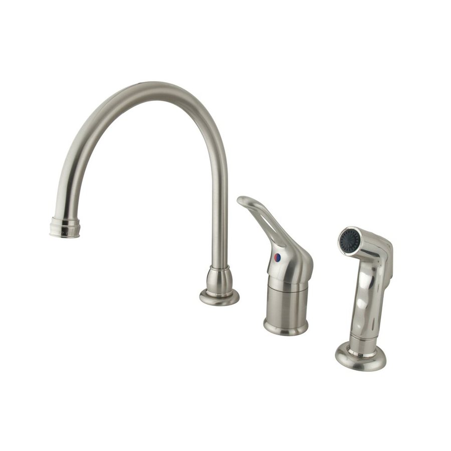 Elements of Design Satin Nickel 1-Handle Deck Mount High-Arc Kitchen Faucet