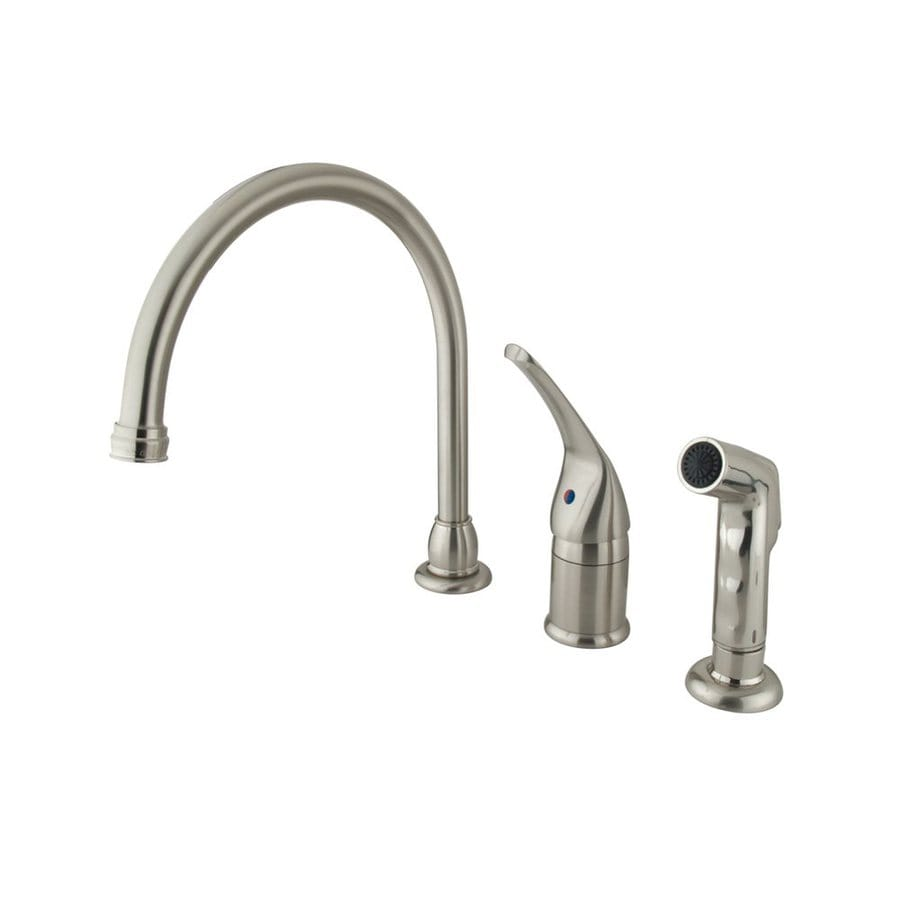 Elements of Design Satin Nickel 1-Handle High-Arc Kitchen Faucet with Side Spray