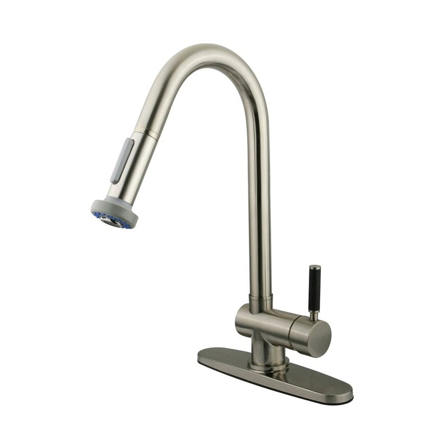 Shop Elements Of Design Kaiser Satin Nickel 1 Handle Pull Out Kitchen Faucet At