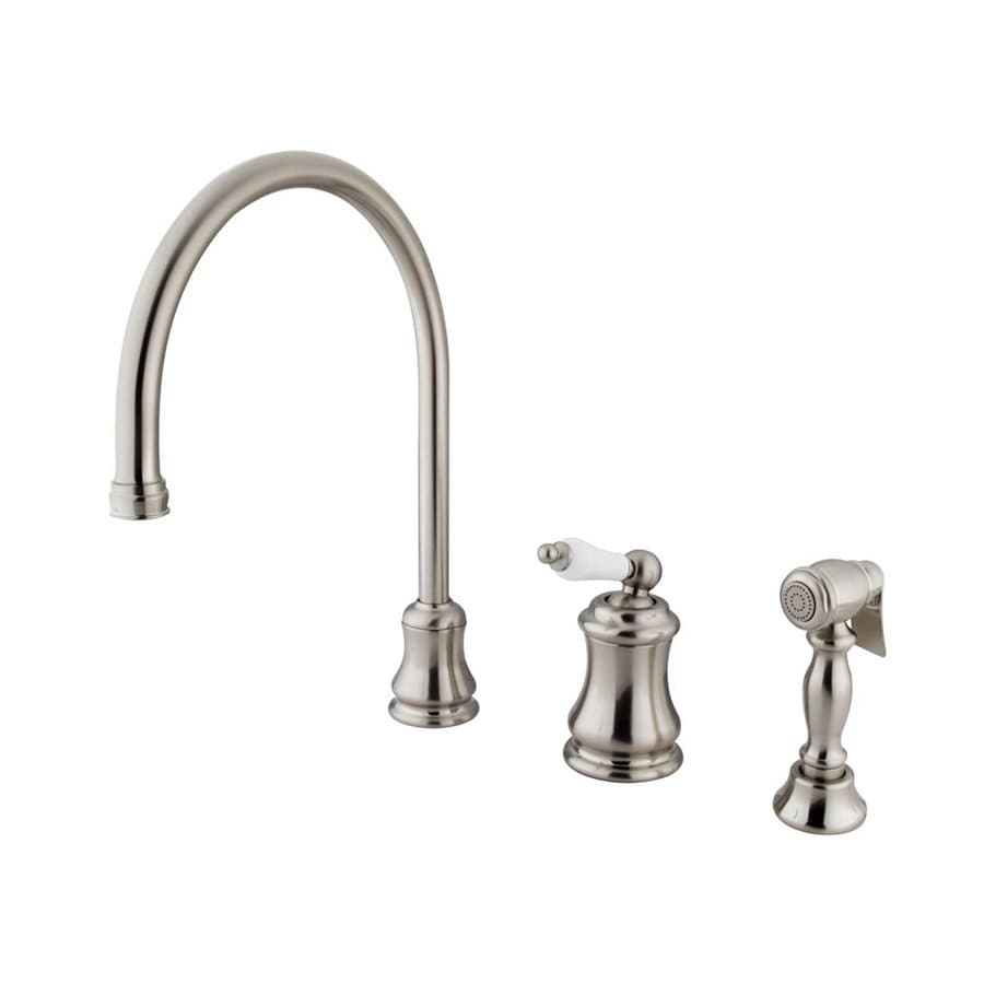 Elements of Design Chicago Satin Nickel 1-Handle Deck Mount High-Arc Kitchen Faucet