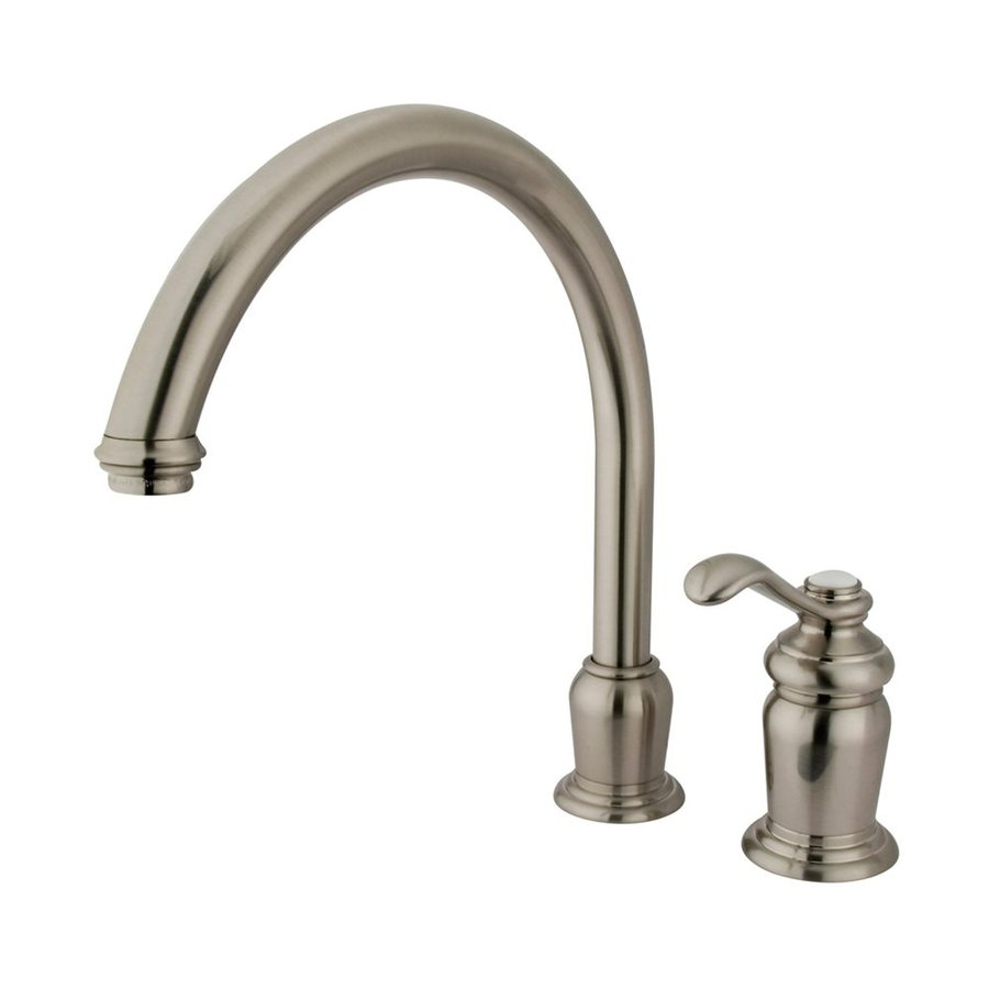 Elements of Design Templeton Satin Nickel 1-Handle Deck Mount High-Arc Kitchen Faucet