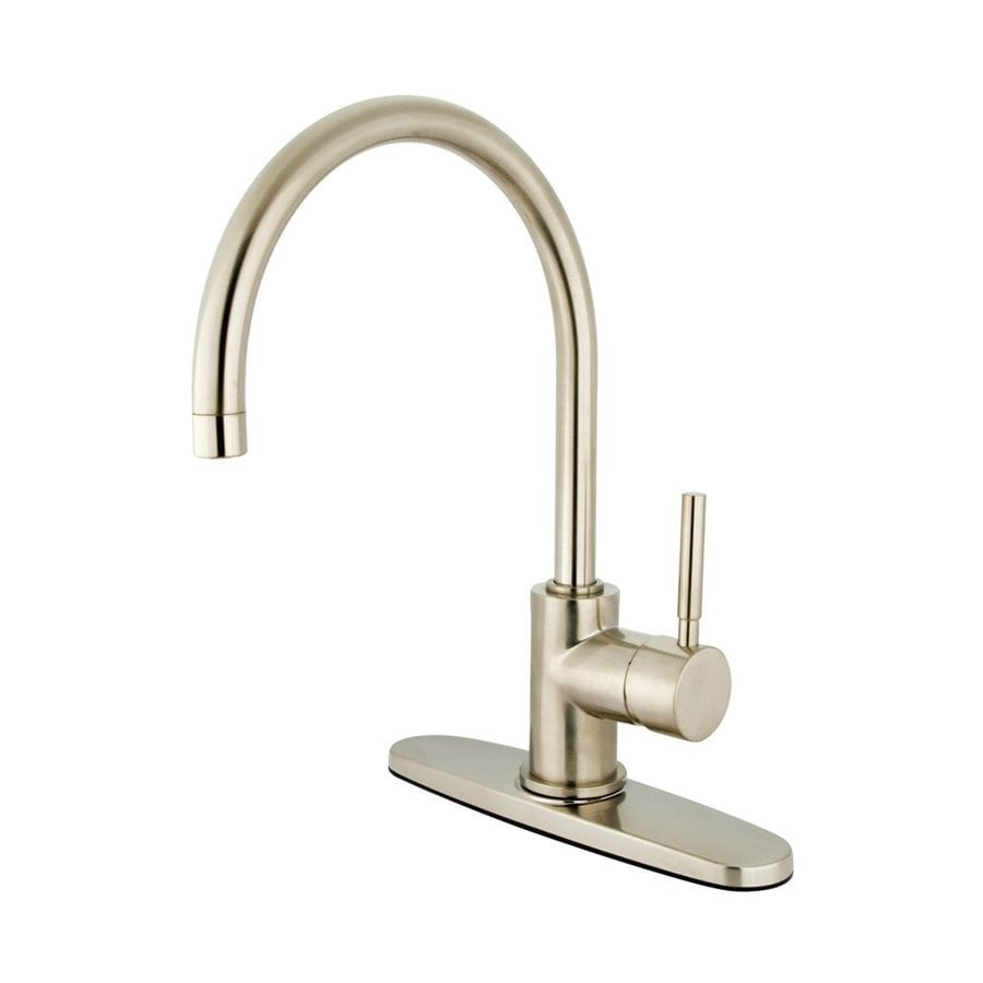 Elements of Design Concord Satin Nickel 1-Handle Deck Mount High-Arc Kitchen Faucet