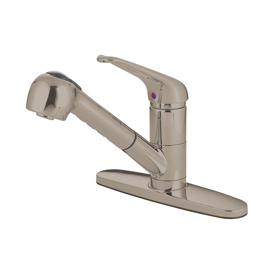 Elements of Design Daytona Satin Nickel 1-Handle Deck Mount Pull-out Kitchen Faucet