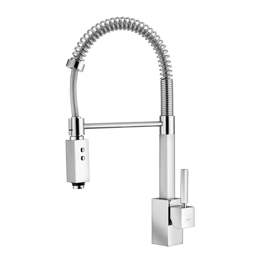 WS Bath Collections Fonte Polished Chrome 1-Handle Pull-Down Kitchen Faucet