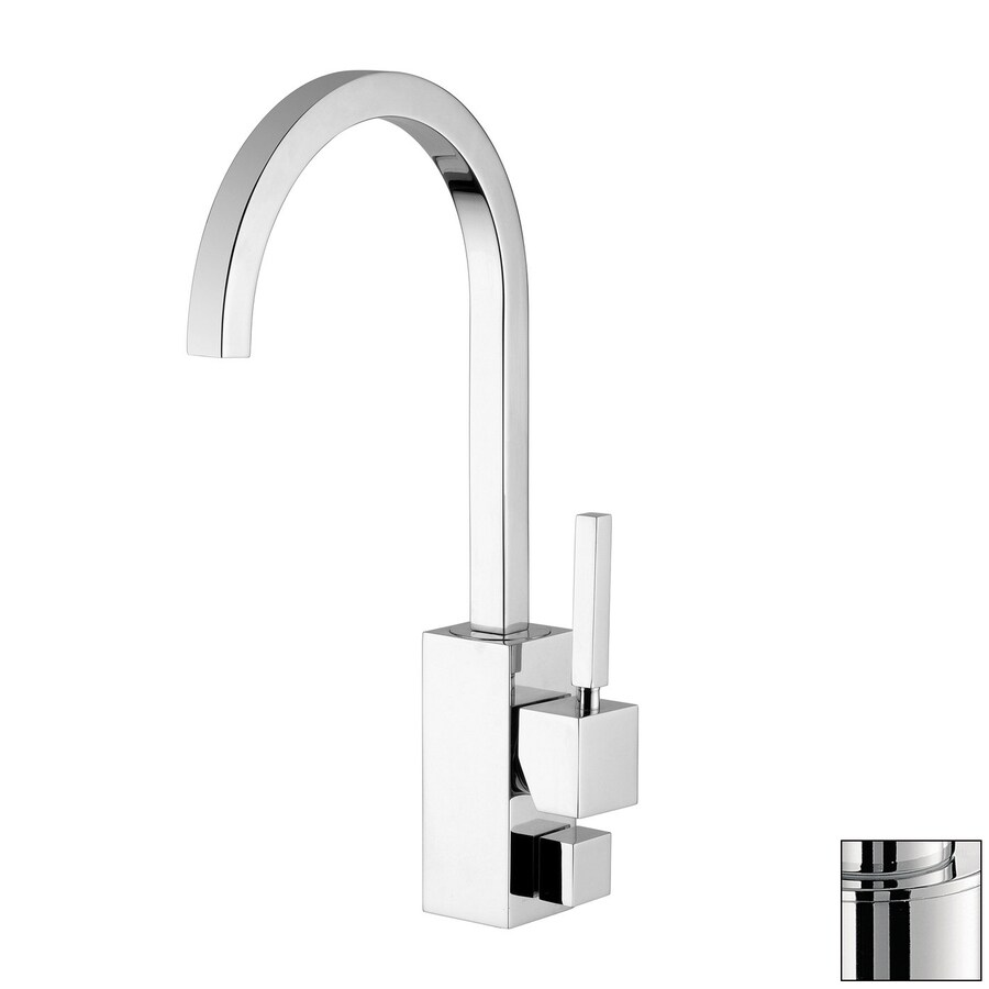 WS Bath Collections Domino Stainless Steel 1-Handle Deck Mount High-Arc Kitchen Faucet