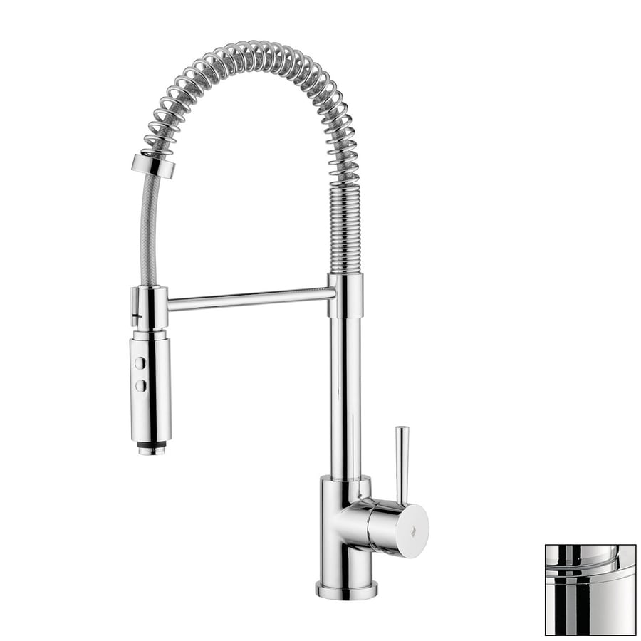 WS Bath Collections Evo Stainless Steel 1-Handle Deck Mount Pull-Down Kitchen Faucet