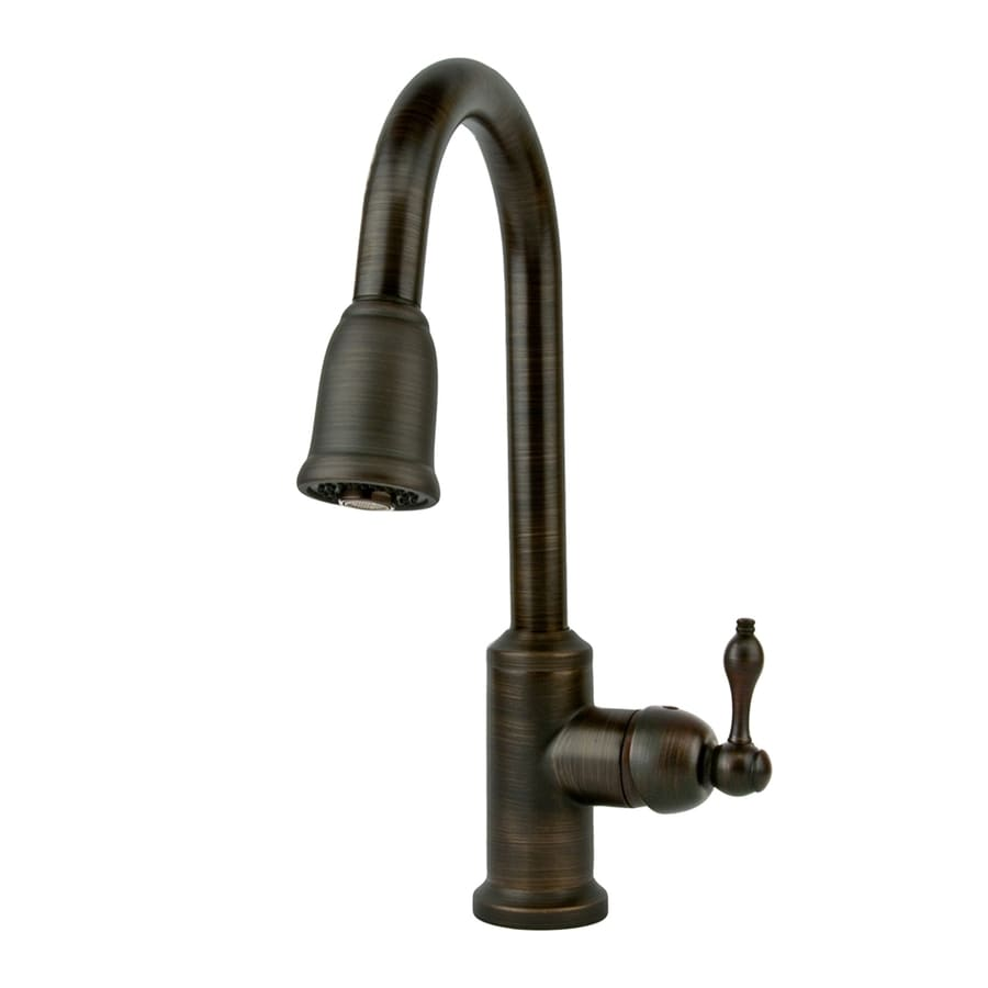oil rubbed bronze faucet kitchen premier copper products oil rubbed bronze 1 handle deck mount pull down kitchen faucet at lowes com 4403