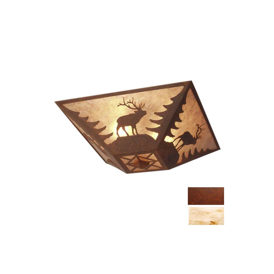 Steel Partners 17-in W Rust Semi-Flush Mount Light