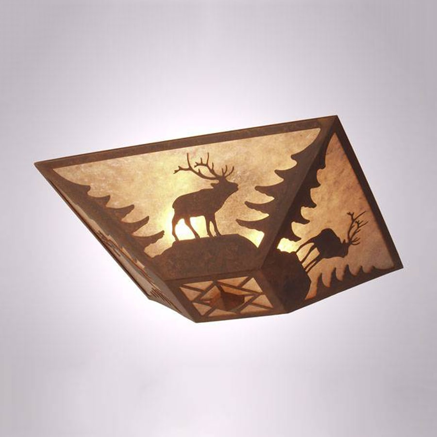 Steel Partners Elk 17-in W Rust Semi-Flush Mount Light with Frosted Glass