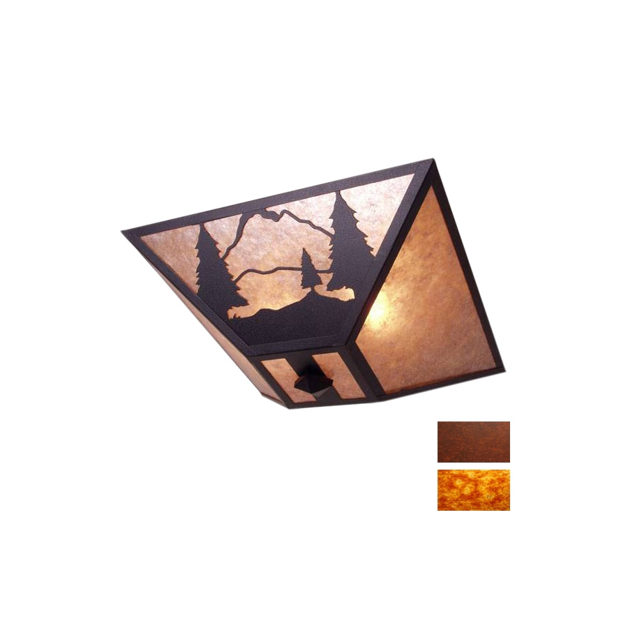 Steel Partners 17-in Rust  Semi-Flush Mount Light