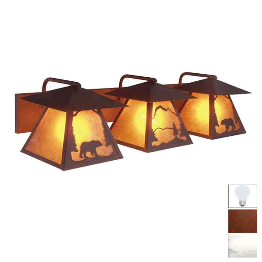Steel Partners 2-Light Bear Rust Bathroom Vanity Light