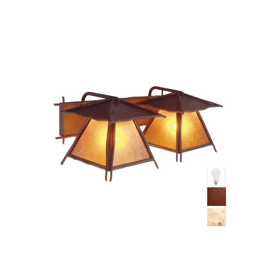 Steel Partners 2-Light Bundle Of Sticks Rust Bathroom Vanity Light