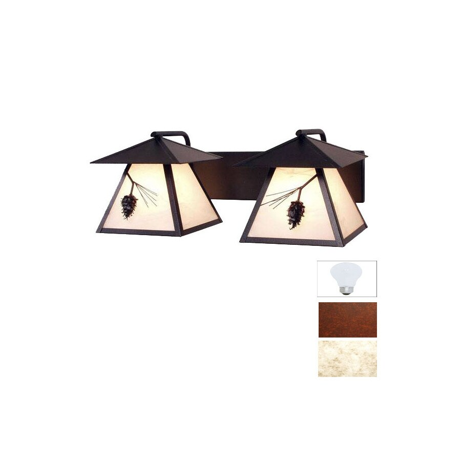 Steel Partners 2-Light Ponderosa Pine Rust Bathroom Vanity Light