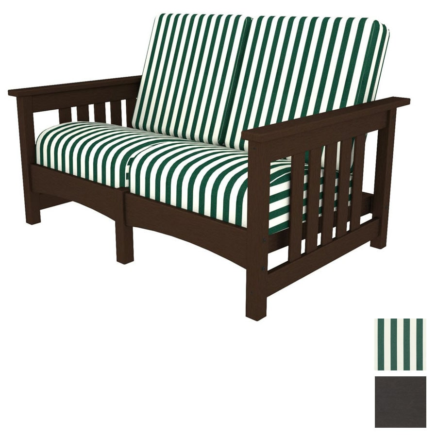 POLYWOOD Deep Seating Club Mission Resin Patio Loveseat With Striped Green  And White Cushion