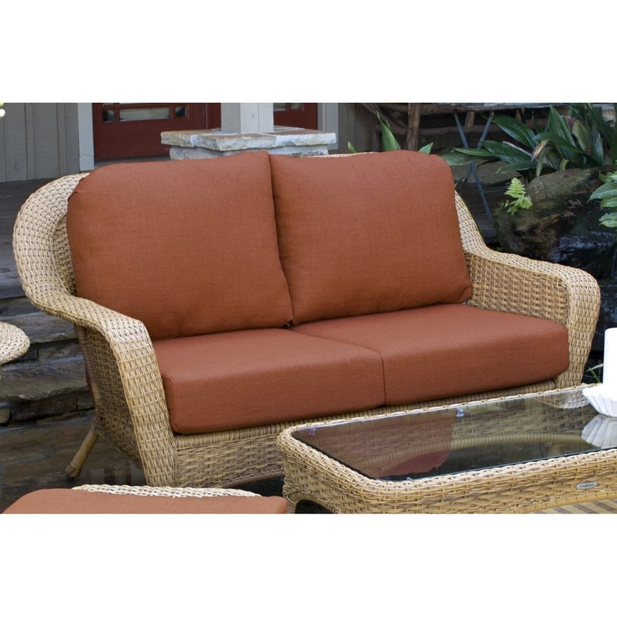 Tortuga Outdoor Lexington Wicker Outdoor Loveseat With Solid Rave Brick  Cushion And Mojave Aluminum Frame