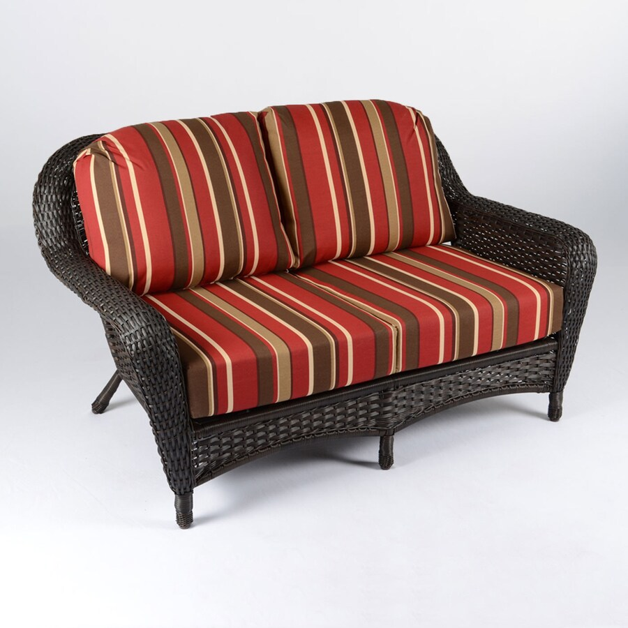 Shop tortuga outdoor lexington stripe cushion tortoise wicker loveseat at Loveseat cushions for outdoor furniture
