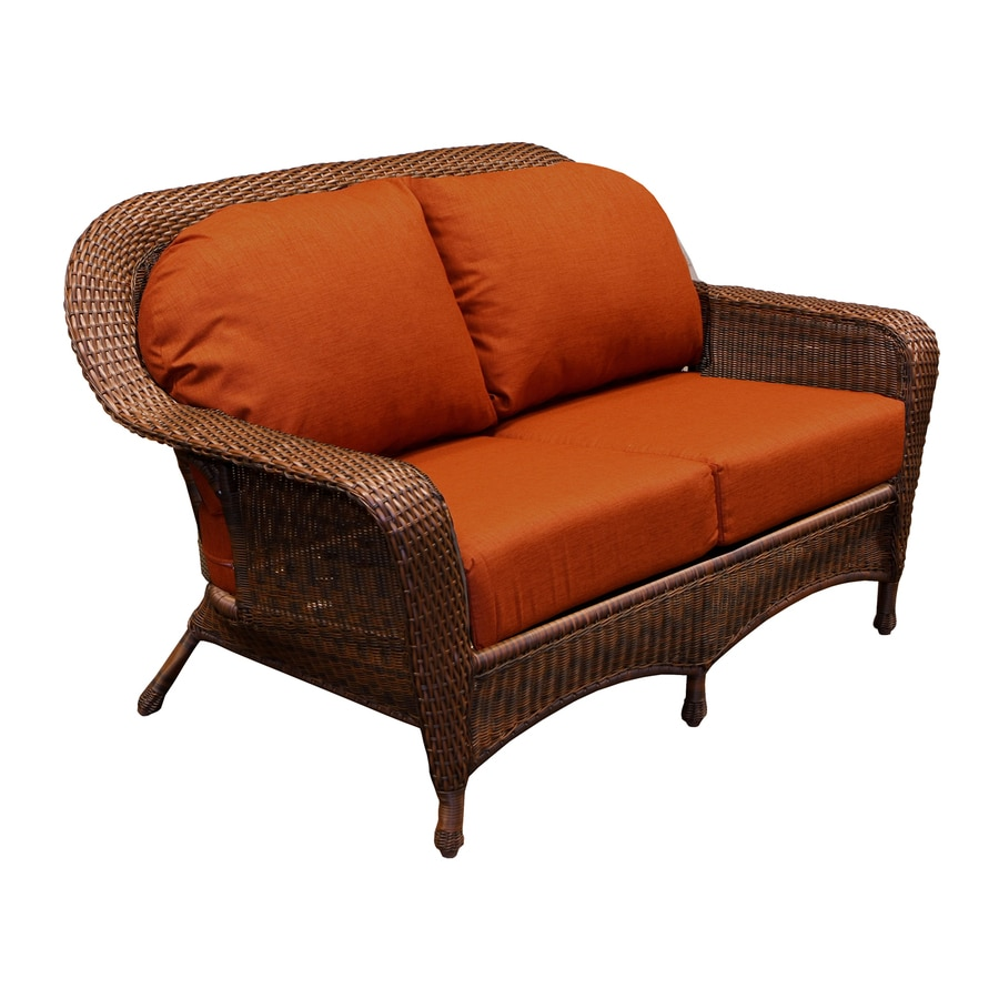 Tortuga Outdoor Lexington Wicker Outdoor Loveseat With Solid Rave Brick  Cushion And Java Aluminum Frame