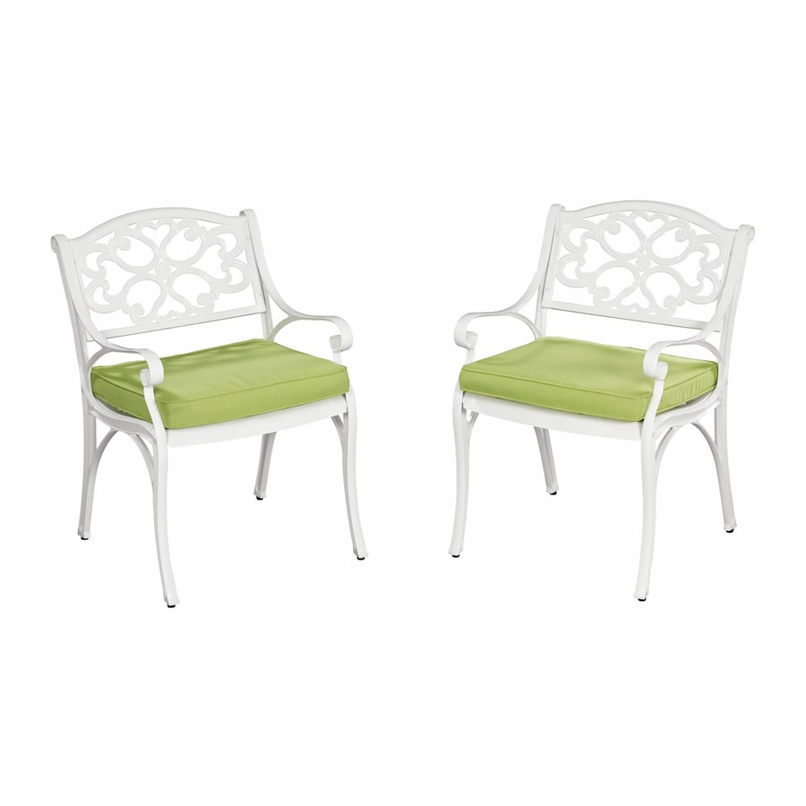 Home Styles Biscayne Set Of 2 Aluminum Dining Chairs With Green Apple  Cushions