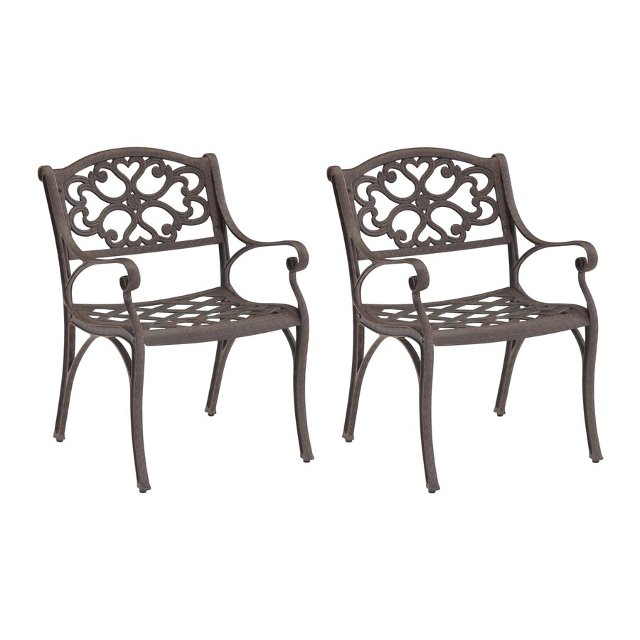 Home Styles Biscayne 2-Count Rust Brown Aluminum Patio Dining Chairs