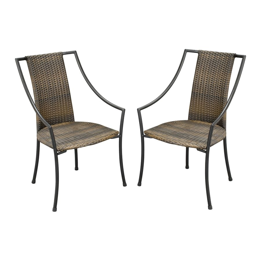 Home Styles Laguna 2-Count Taupe Steel Stackable Patio Dining Chairs