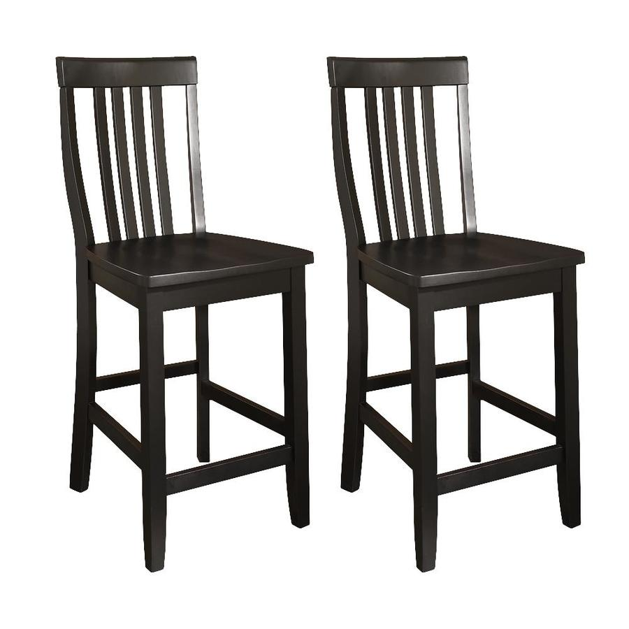 Crosley Furniture Set of 2 School House Black 24-in Counter Stool