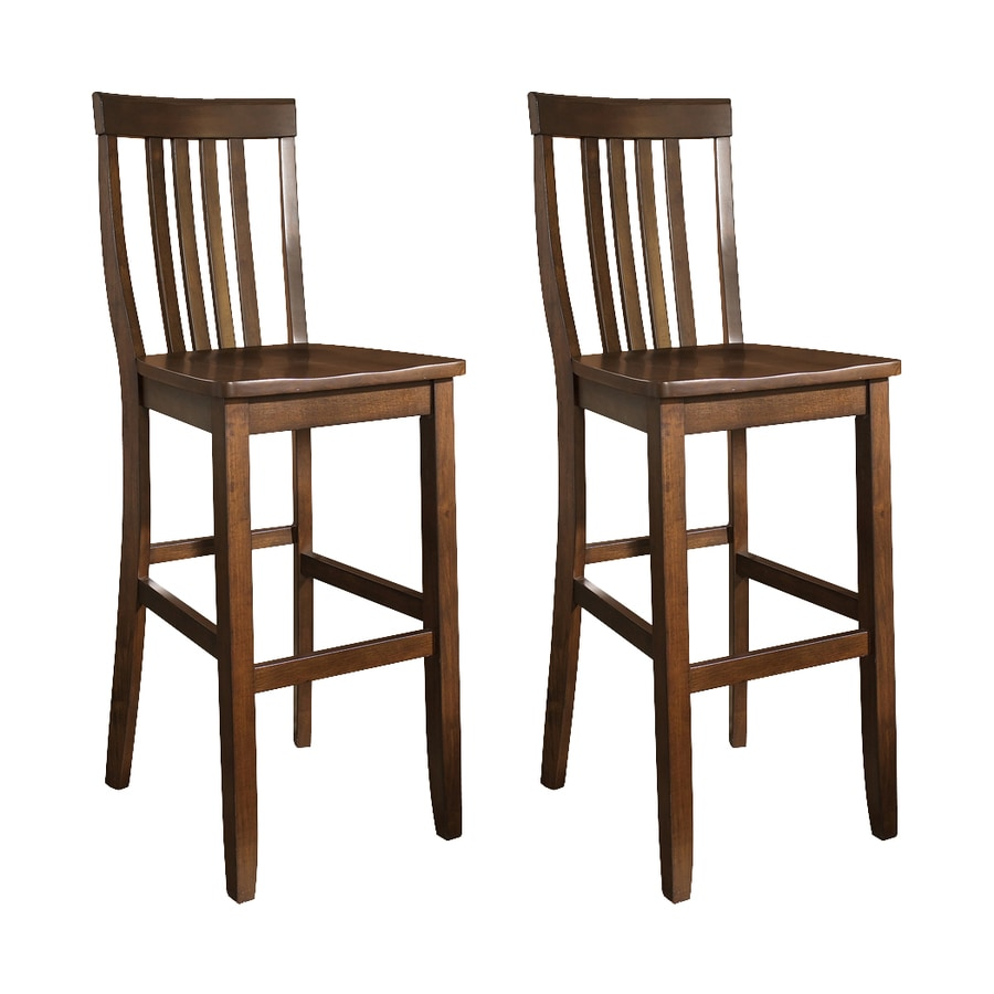 Crosley Furniture Set of 2 School House Vintage Mahogany 30-in Bar Stool