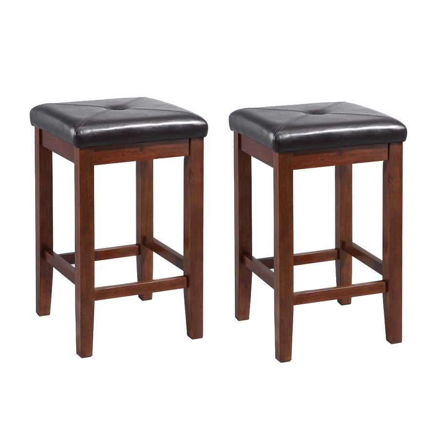 crosley furniture set of 2 vintage mahogany counter stools