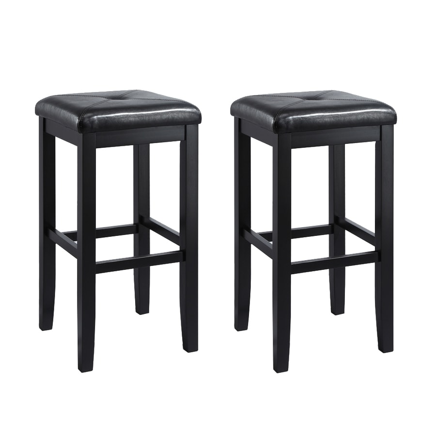 Crosley Furniture Set of 2 Black 29-in Bar Stools