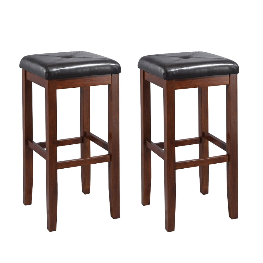 Crosley Furniture Set of 2 Vintage Mahogany 29-in Bar Stools