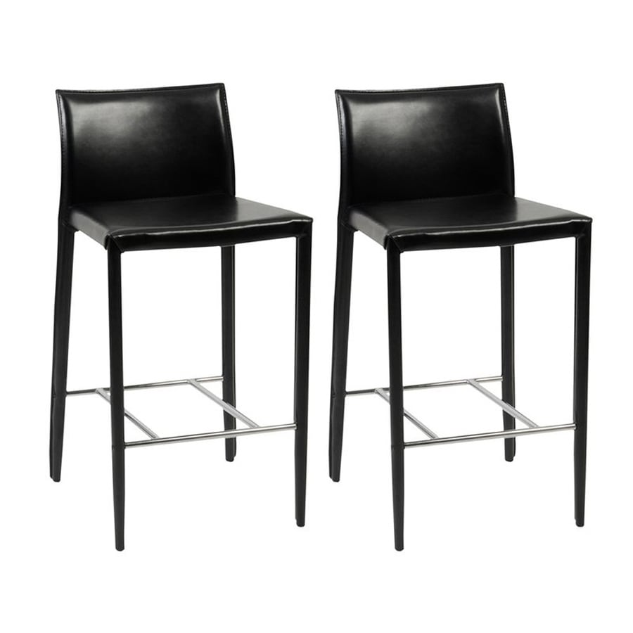 Eurostyle Set of 2 Shen Black 26-in Counter Stool