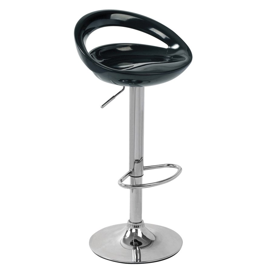 Lumisource Swizzle Chrome/Black 32-in Adjustable Stool
