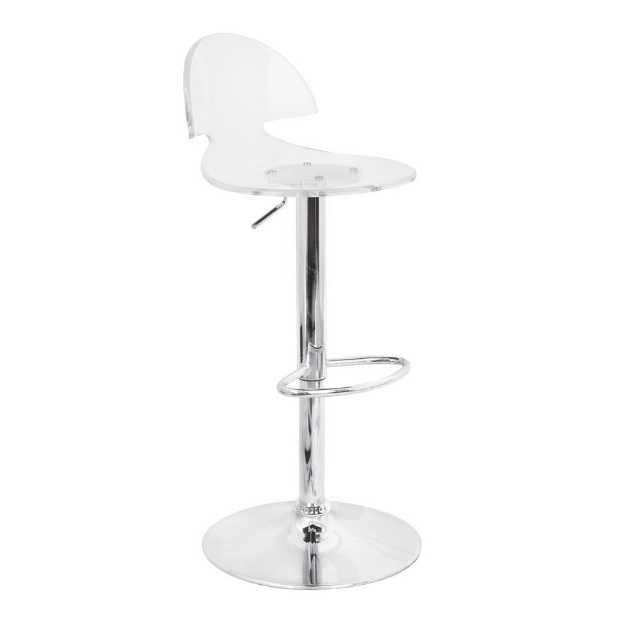Lumisource Venti Chrome/Clear 30.5-in Adjustable Stool