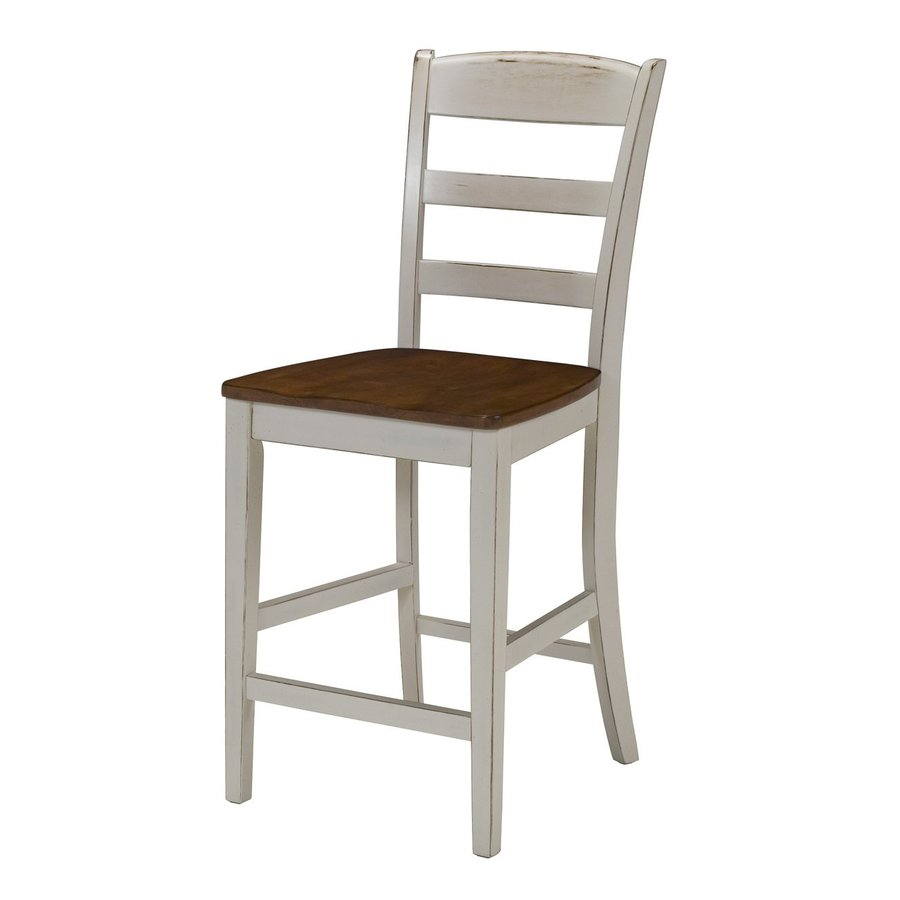Home Styles Monarch Distressed Antique White/Oak Counter Stool