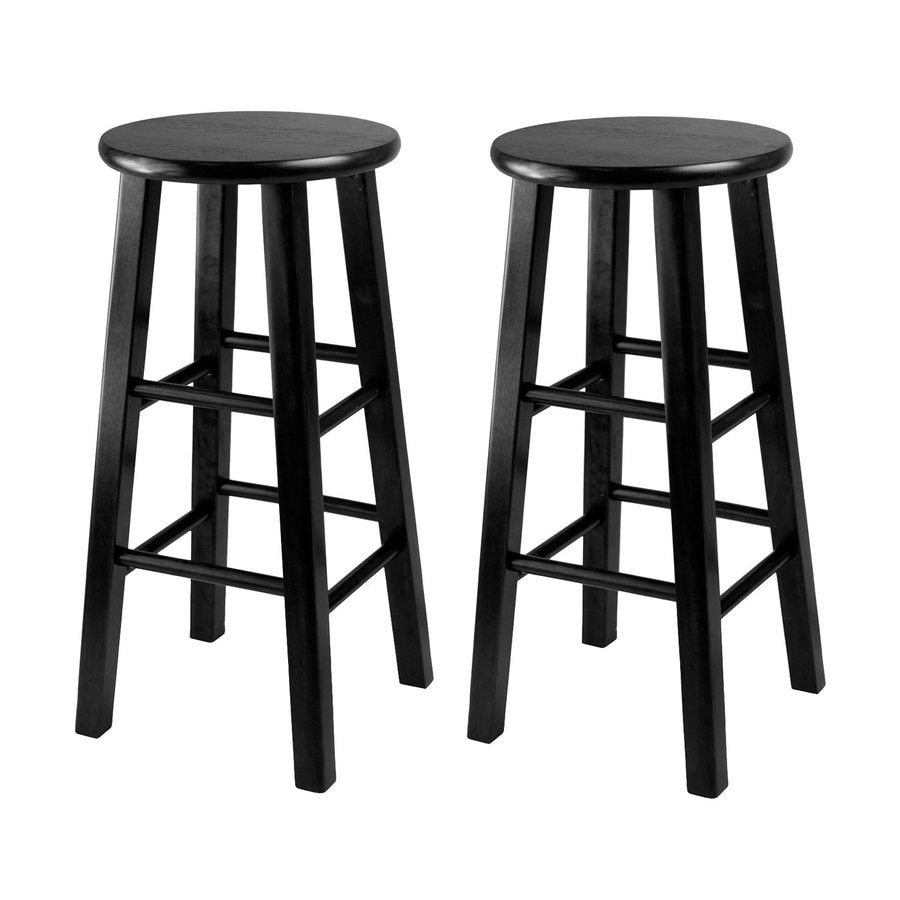 Winsome Wood Set of 2 Black 24.2-in Counter Stools