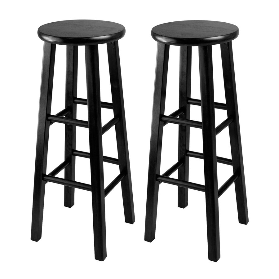 Winsome Wood Set of 2 Casual Black Bar Stools