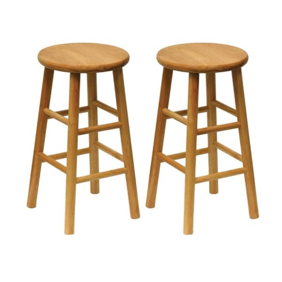 Shop winsome wood set of 2 natural counter stools at for 24 inch bar stools