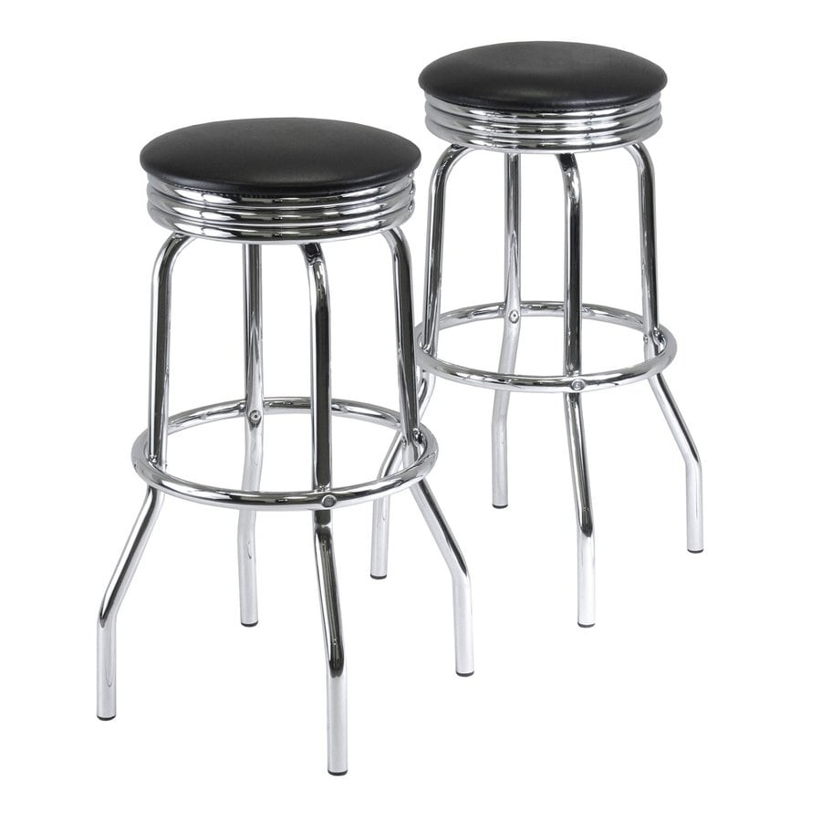 Winsome Wood Set of 2 Modern Chrome Bar Stools
